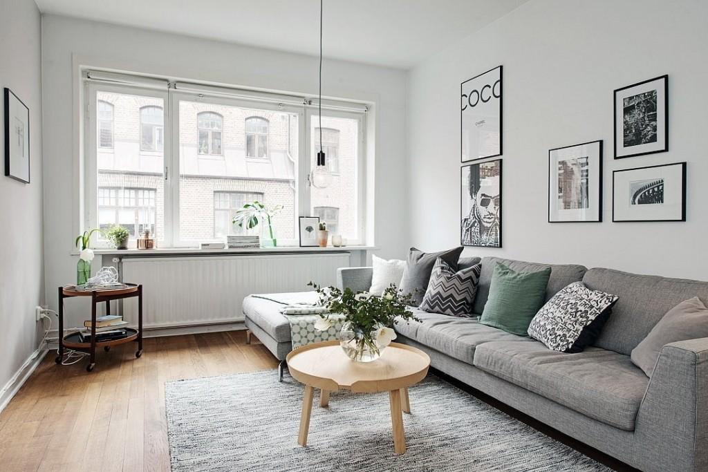Прямоугольная гостиная в скандинавском стиле