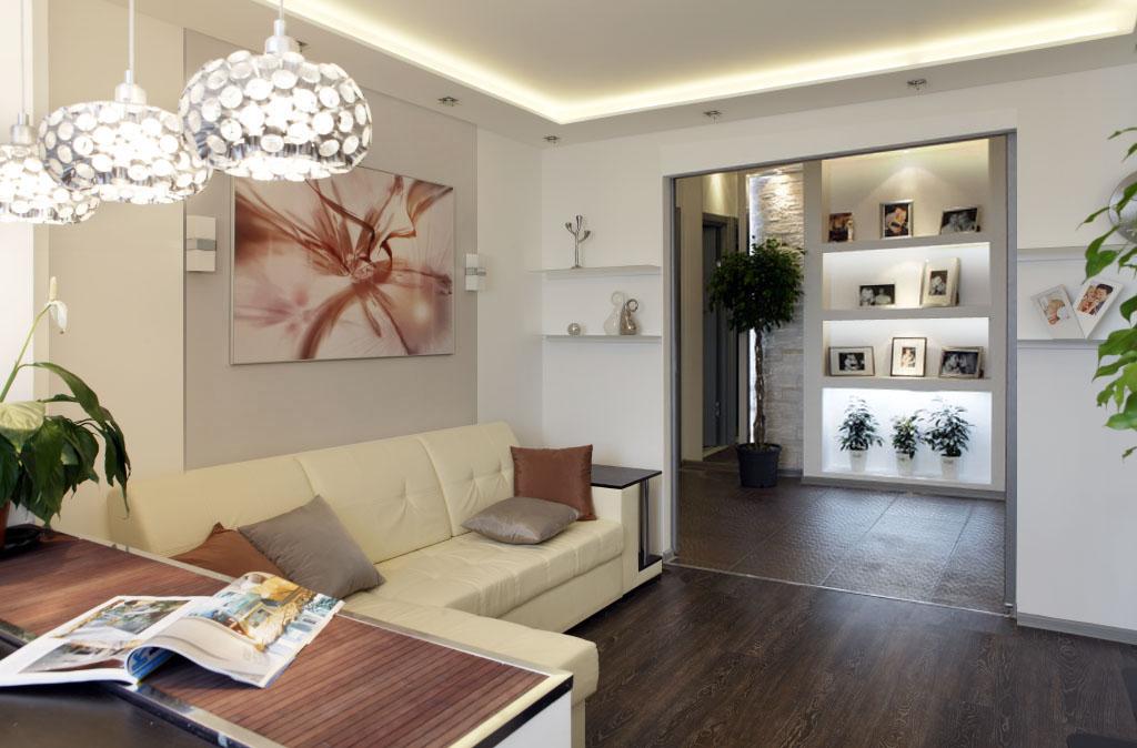 Дизайн зала в трехкомнатной квартире дома П-44Т