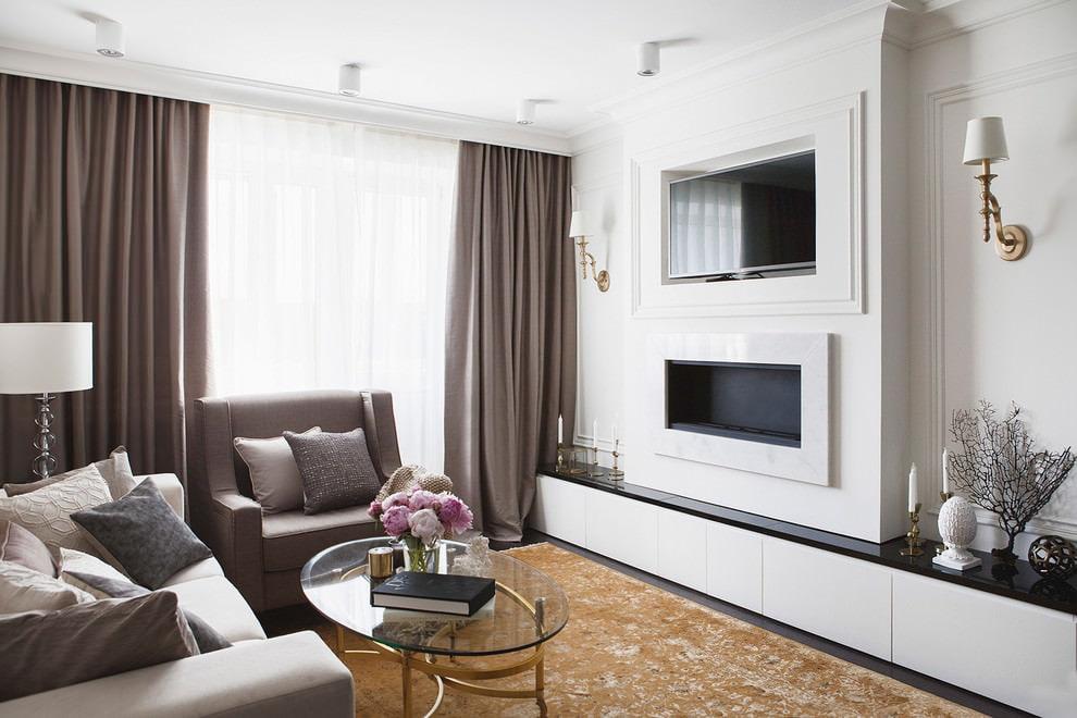 Интерьер гостиной комнаты с биокамином