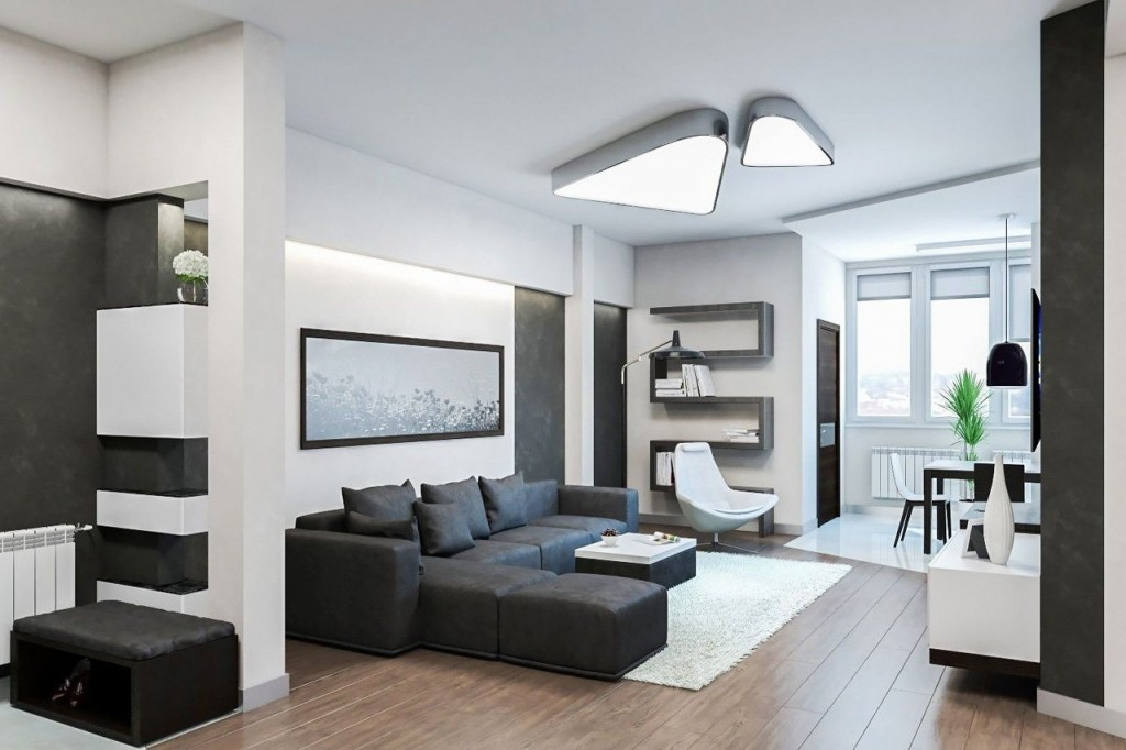 Накладные светильники на белом потолке
