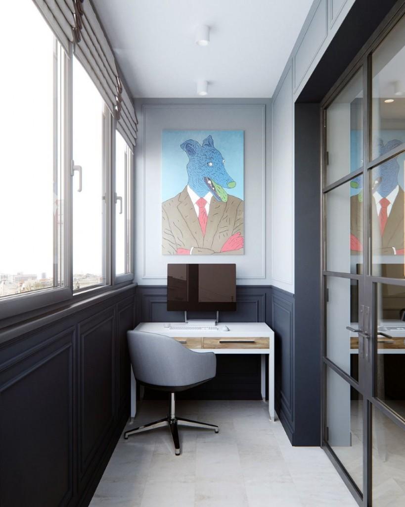 Дизайн домашнего кабинета на балконе