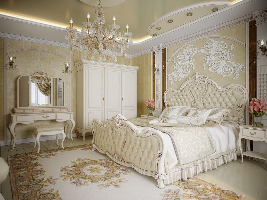 Красивые обои в спальне классического стиля