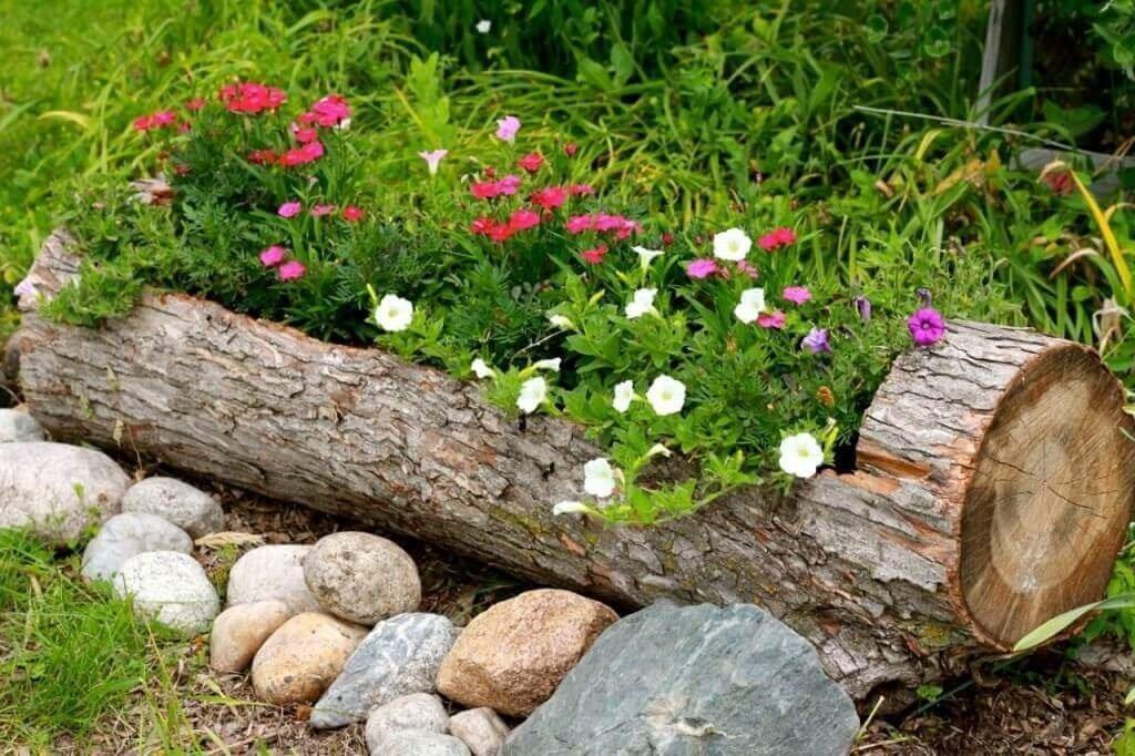 Садовая клумба из толстого бревна