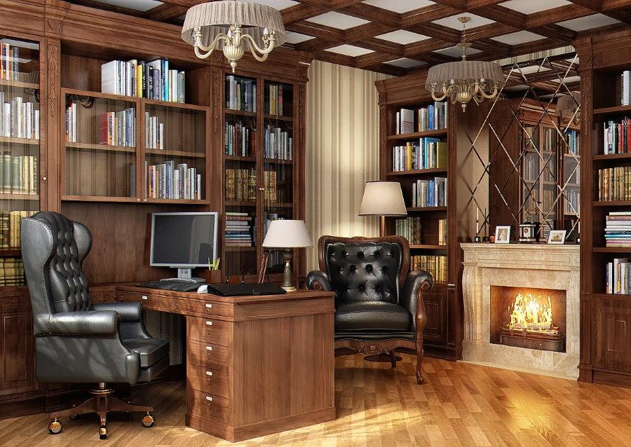 Офисное кресло с кожаной обивкой