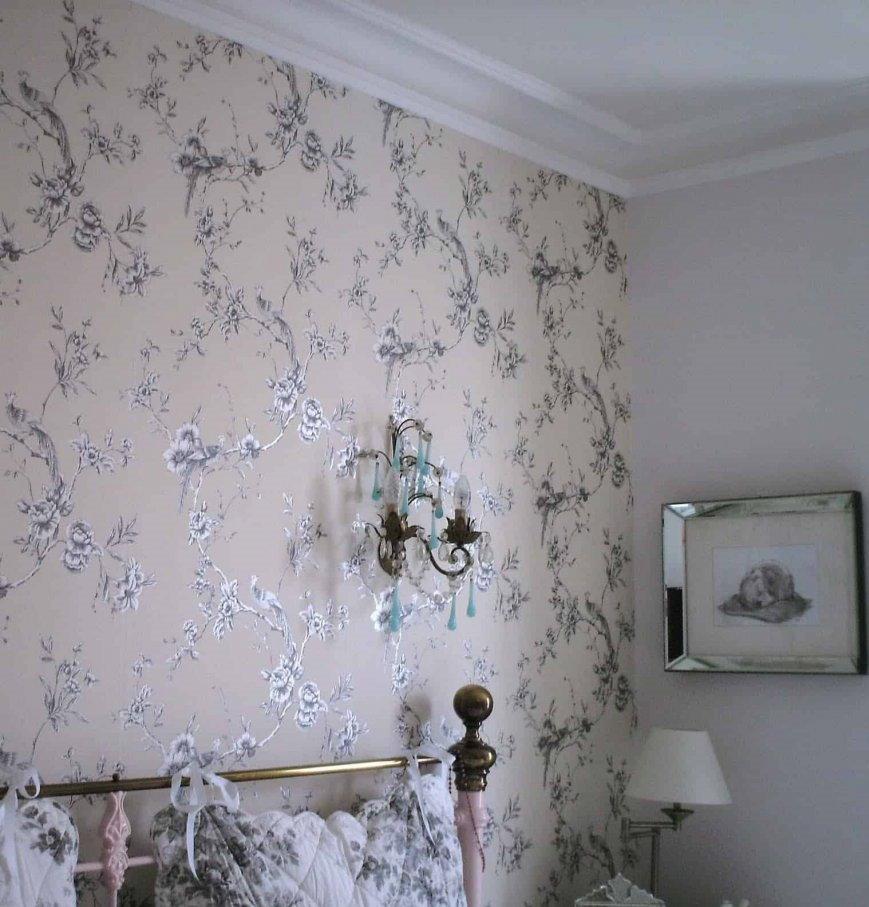 Фото обоев в спальной комнате стиля прованс