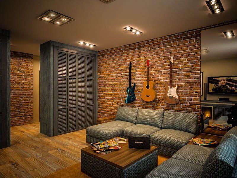 Декор гитарами кирпичной стены в квартире