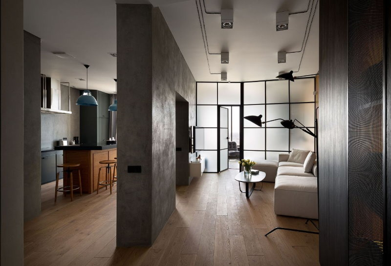 Бетонные поверхности в интерьере квартиры