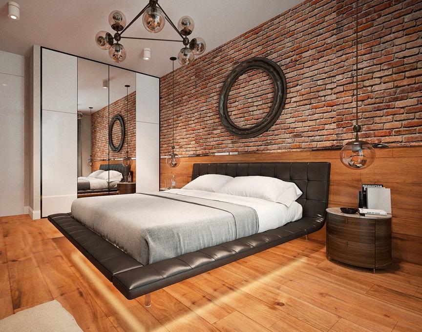 Кирпичные обои в спальне индустриального стиля