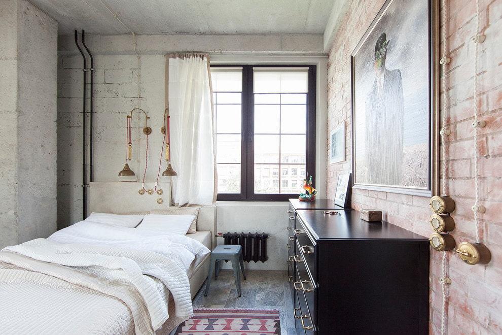 Выбор обоев для спальной комнаты в стиле лофт