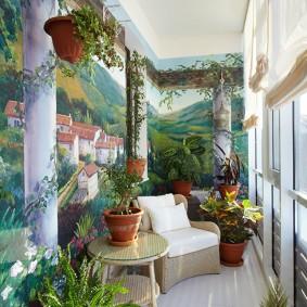 Декор стен балкона художествнной росписью