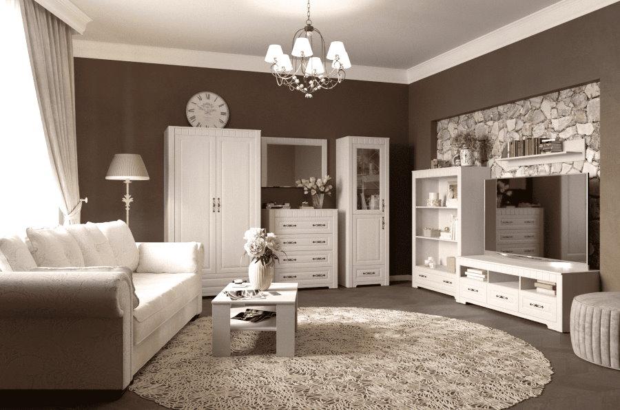 Модульная мебель в гостиной стиля прованс