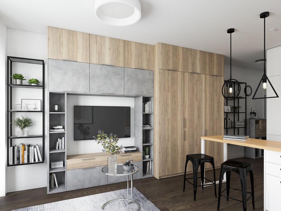 Дизайн студии со встроенной мебелью