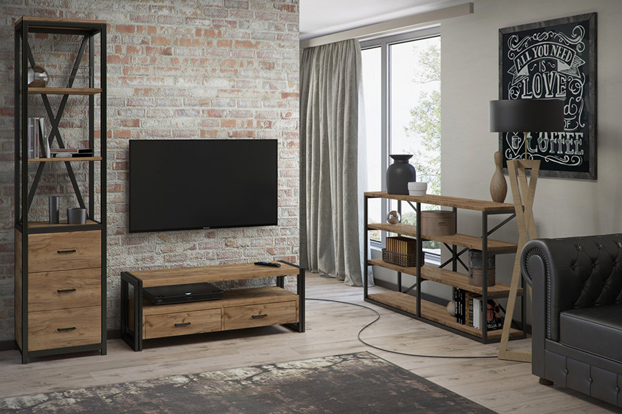 Гостиная комната в стиле лофт с модульной мебелью