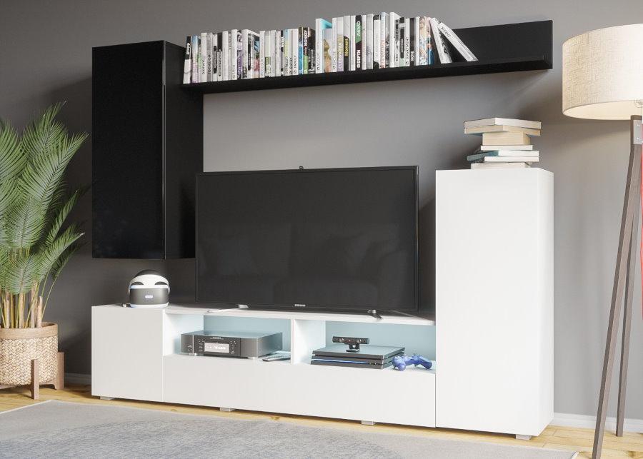 Черно-белая мини стенка для современной гостиной