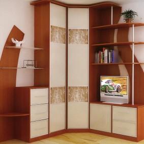 Угловой шкаф для хранения одежды в гостиную