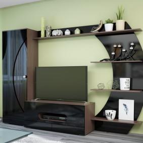 Мини-стенка с узким распашным шкафом