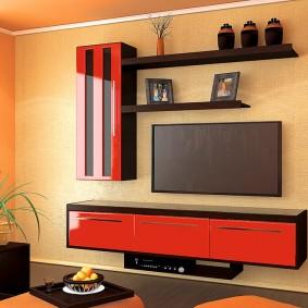 Красная мебель в гостиную комнату