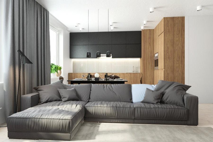 Серый диван на кухне-гостиной