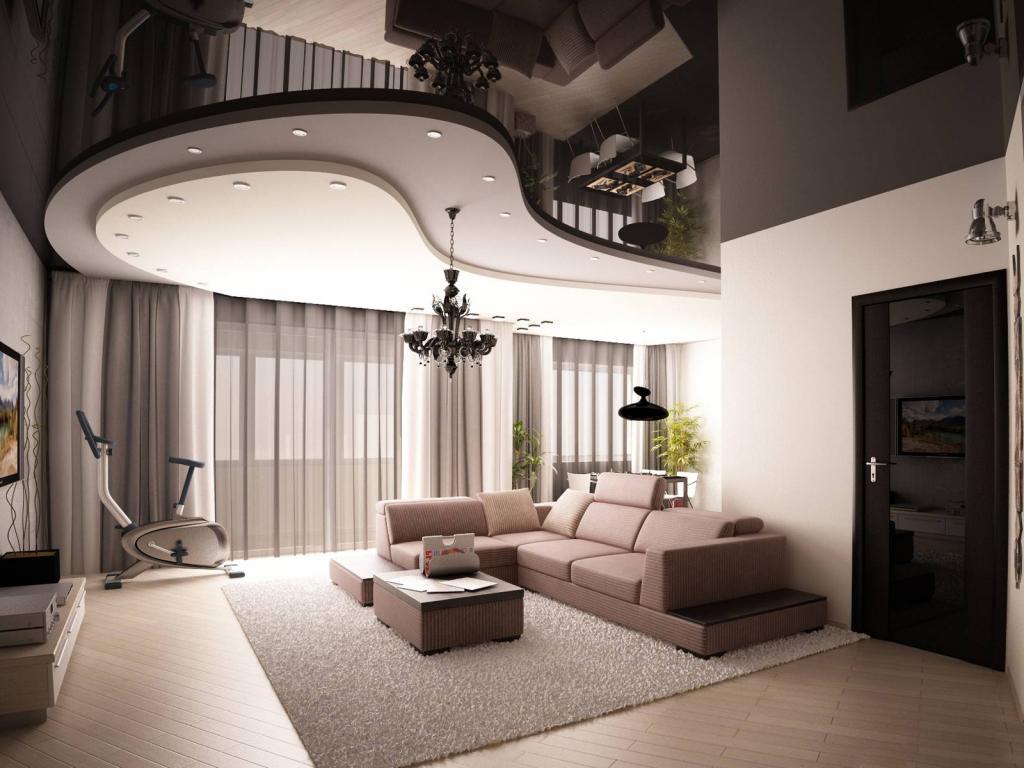 Дизайн гостиной с натяжным многоуровневым потолком