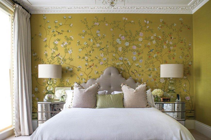 Модные обои в спальне современного стиля