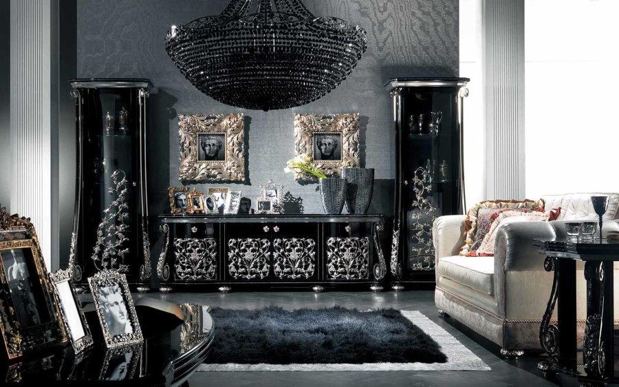 Четная стенка в гостиной комнате стиля арт-деко