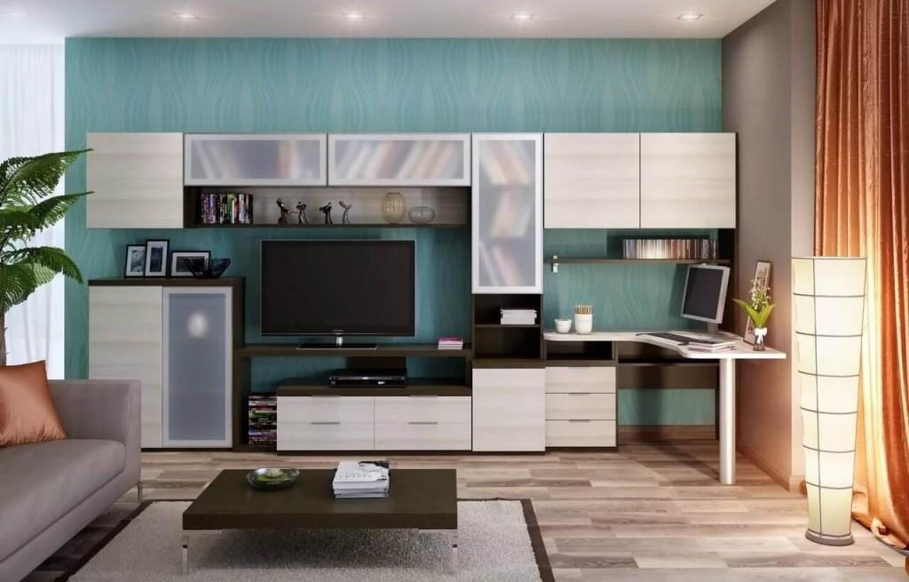 Модульная гостиная с компьютерным столом