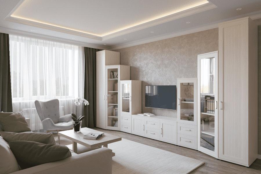 Расположение модульной мебели в интерьере зала