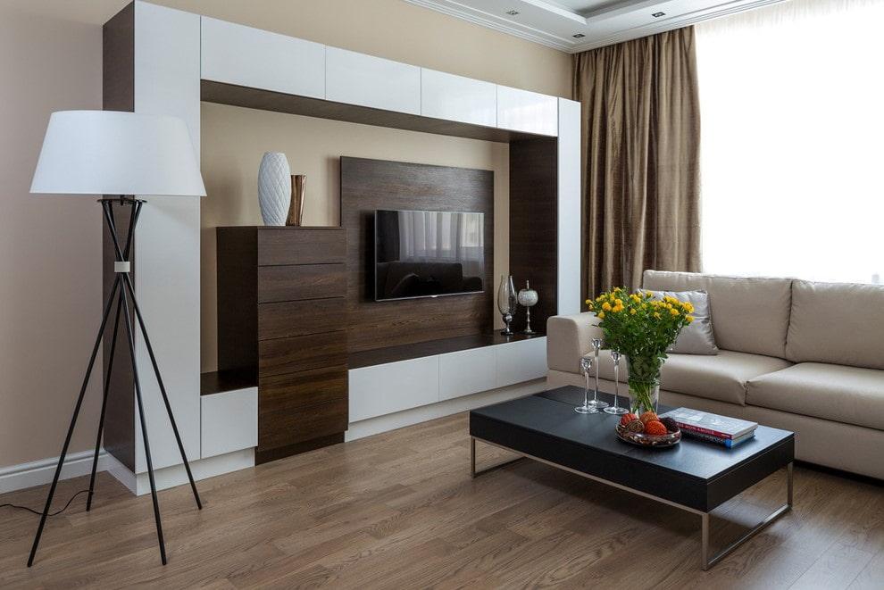Контрастные фасады на мебельной стенке в зале