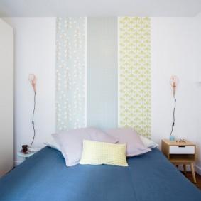 Комбинирование обоев в маленькой спальне