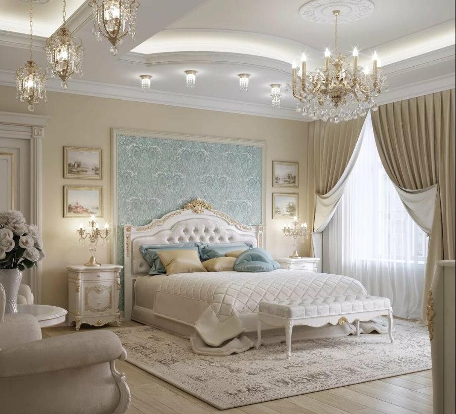 Комбинирование обоев в спальне классического стиля