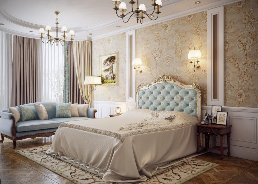 Оклейка обоями спальни в стиле классика