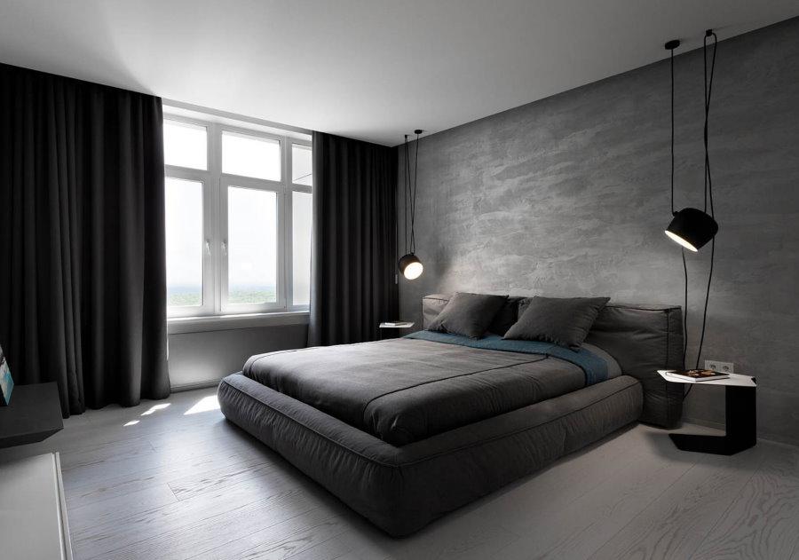 Серые обои в интерьере спальной комнаты
