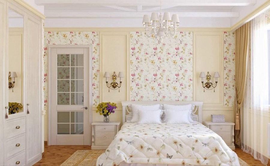 Сочетание обоев в спальне прованского стиля