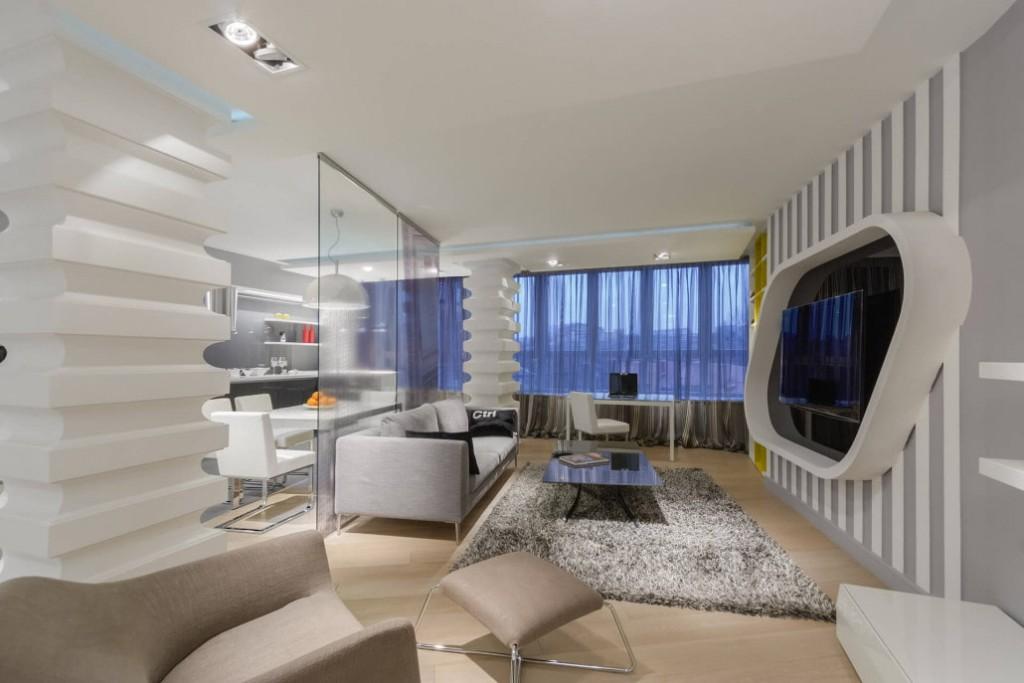 Футуристический дизайн квартиры-студии в стиле хай-тек
