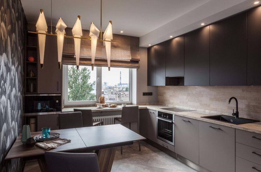 Зональное освещение на кухне в квартире