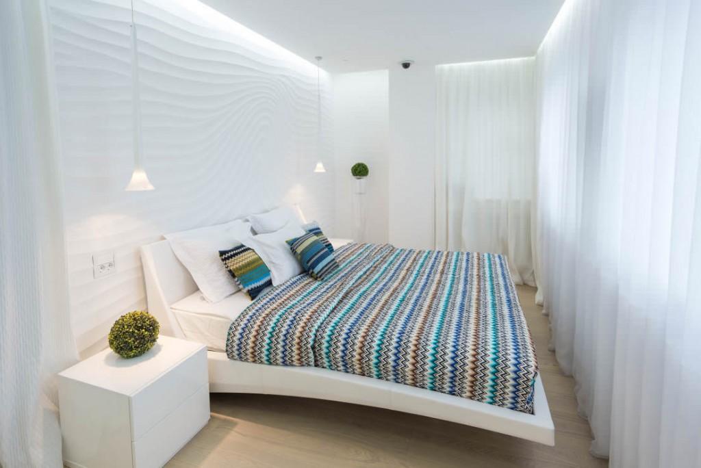 ПВХ-панели с 3d эффектом в спальной комнате