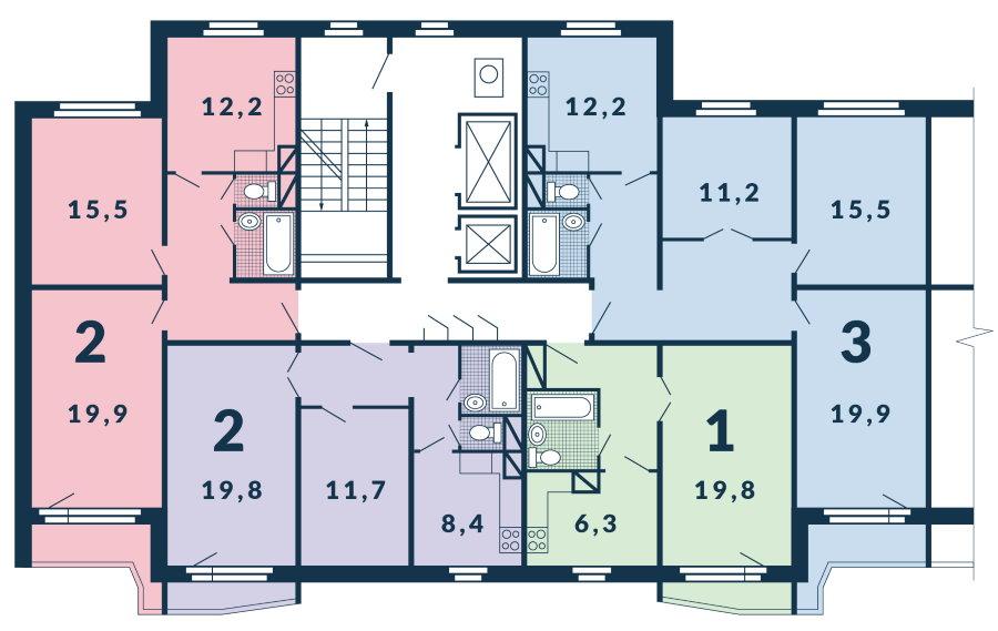 План этажа дома п-44 Т с однокомнатной квартирой