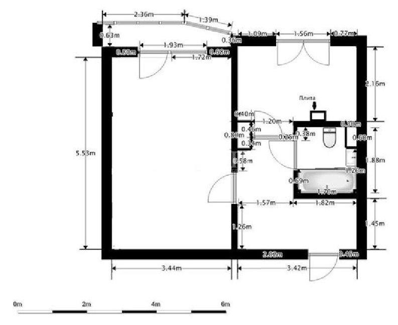 План однушки в доме П -44 с размерами
