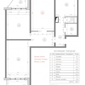 План трехкомнатной квартиры в доме П 44 т с размерами