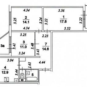 Планировка трехкомнатной квартиры в доме п 44 т с размерами