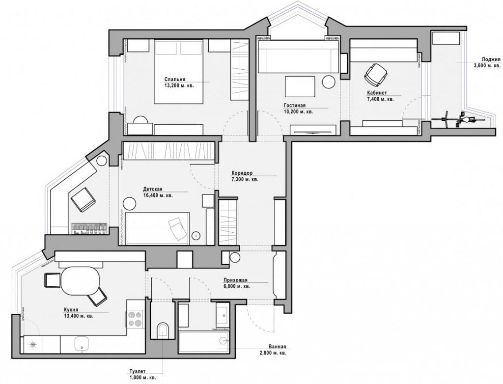 Расстановка мебели в 3 х комнатной квартире