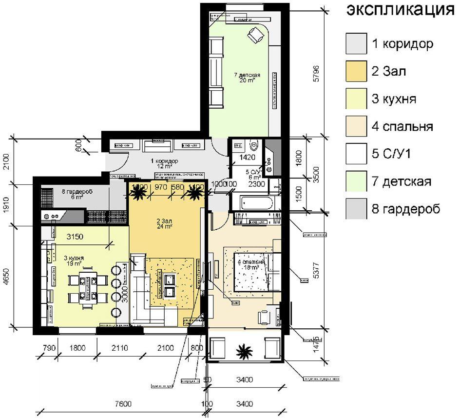 Схема перепланировки трешки в доме П 44 т