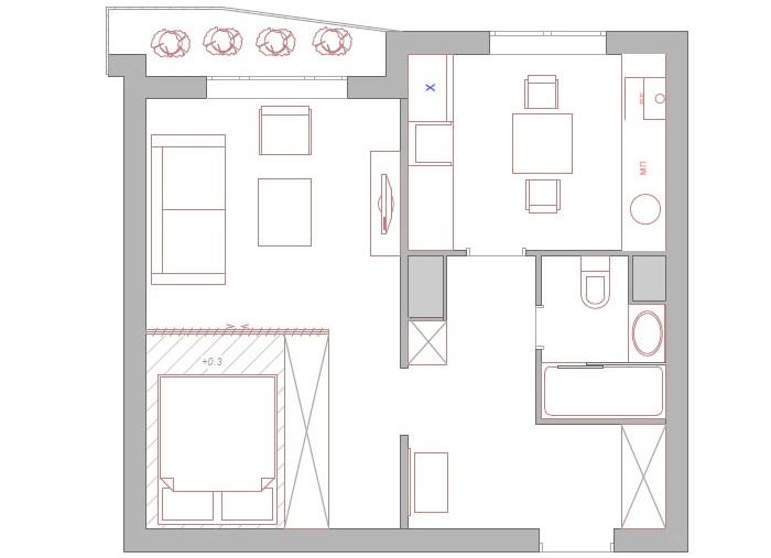 Планировка однокомнатной квартиры с размерами
