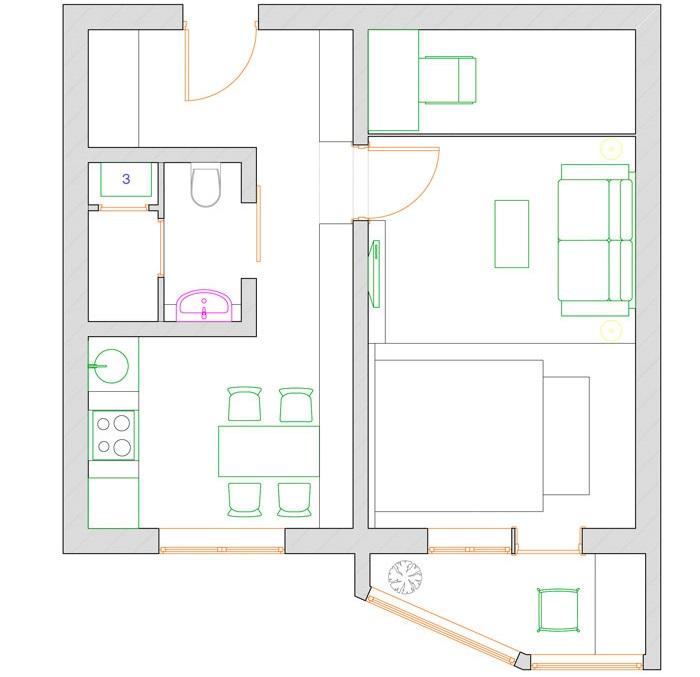 Схема однокомнатной квартиры с выделенной детской зоной
