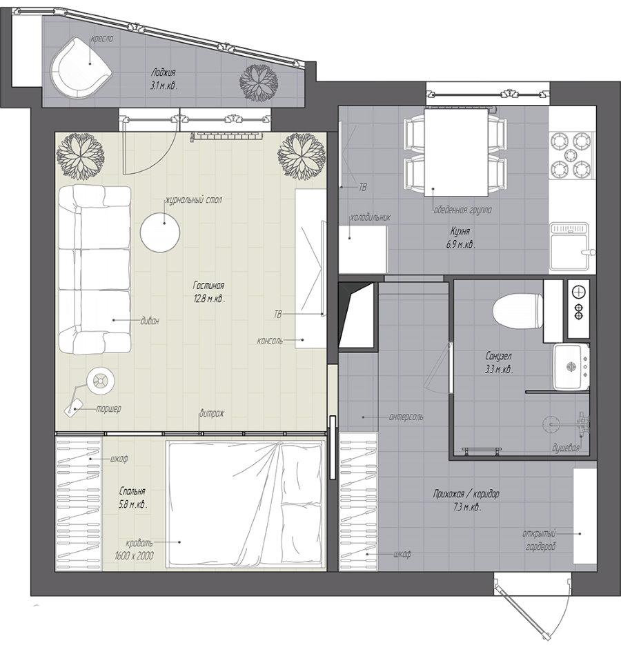 План однокомнатной квартиры в панельном доме с размерами