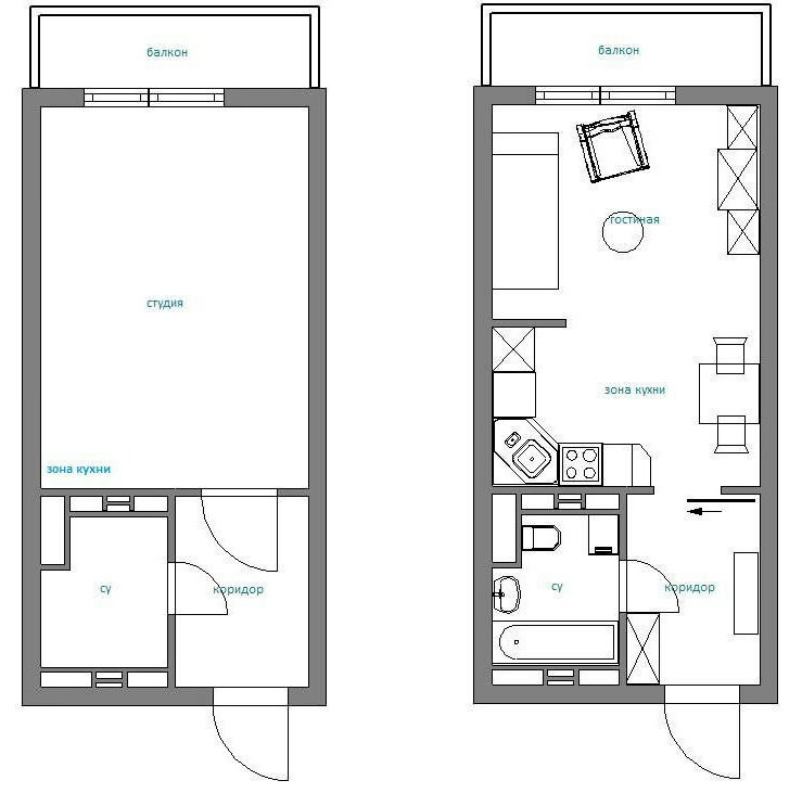 План квартиры-студии с расстановкой мебели