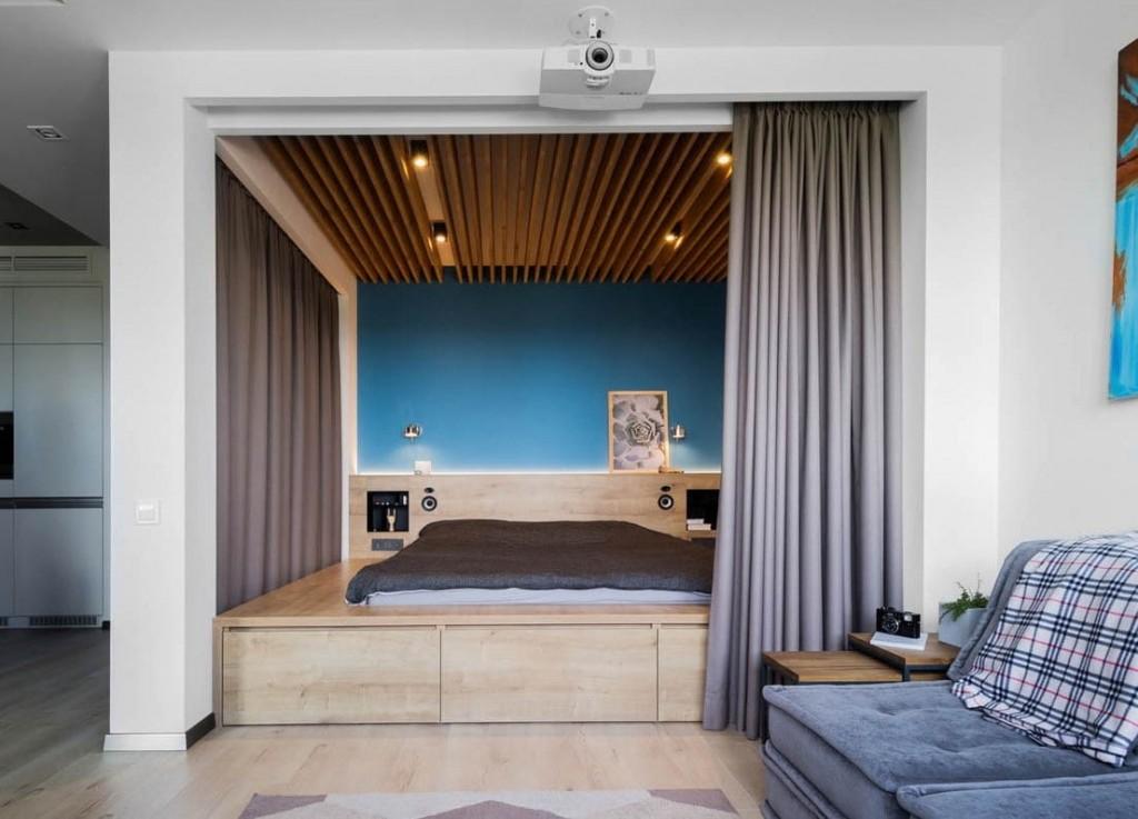 Зонирование спальни-гостиной небольшой площади