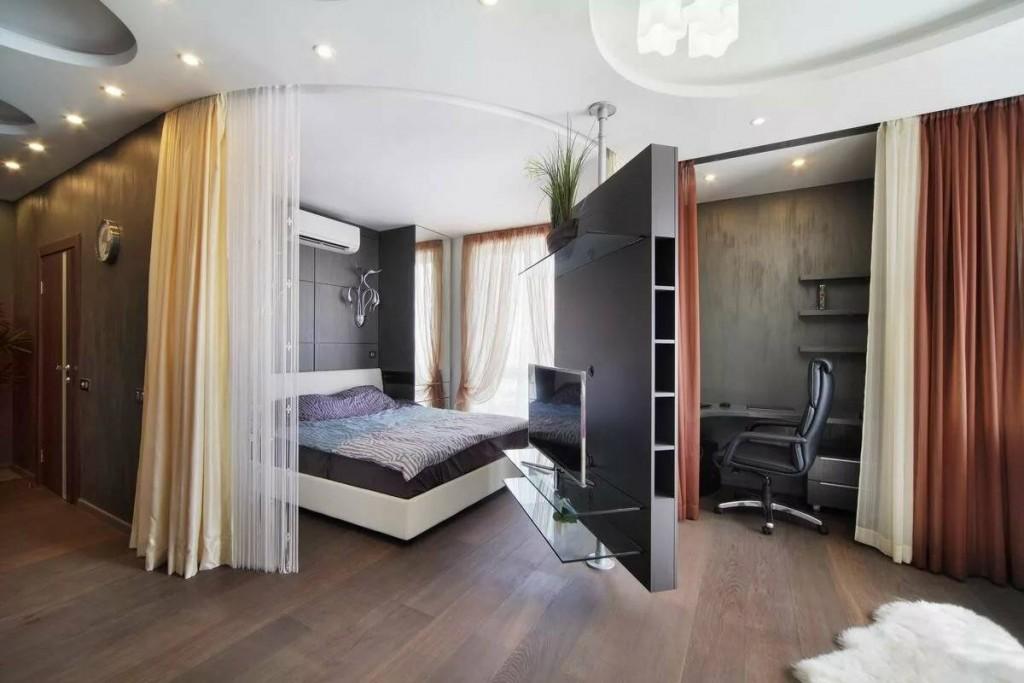 Интерьер однокомнатной квартиры с поворотной перегородкой