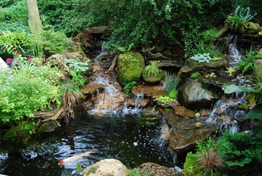 Оформление водопада в природном стиле ландшафта