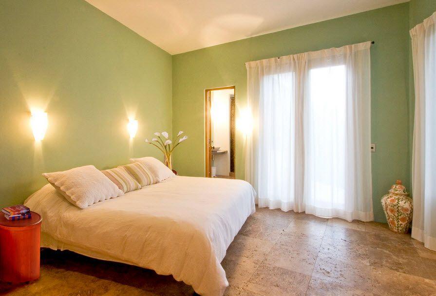 Освещение спальни с пробковым полом